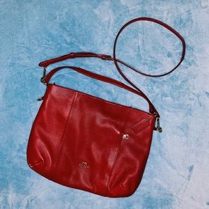 red coach side satchel (short strap available)